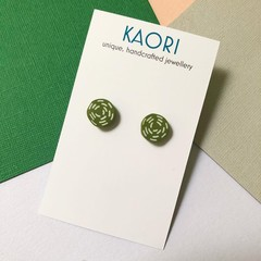 Polymer clay earrings, studs In olive green and white swirl