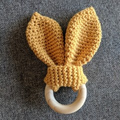 Handmade Crocheted Scrunchy Rabbit Ear Teether - Sensory Baby Gift