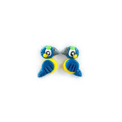 Super Studs - Blue and Gold Macaw Earrings