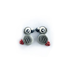Super Studs - African Grey Parrot Earrings