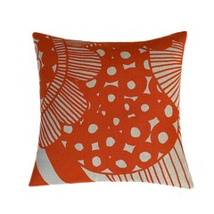 Orange Linen Pillow Cover. Abstract Flower.