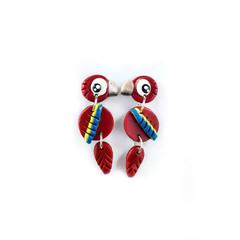 Scarlet Macaw Earrings - Polymer Clay Statement Parrot Earrings