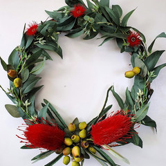 Artificial Red Banksia  & Eucalyptus Native Flower Wreath (35 cms wide)