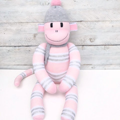 'Lily' the Sock Monkey - grey and pink - *READY TO POST*