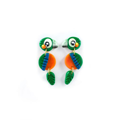 Harlequin Macaw Earrings - Polymer Clay Statement Parrot Earrings