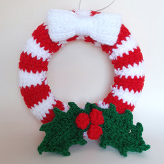 Christmas wreath, holly, candy strip, white bow