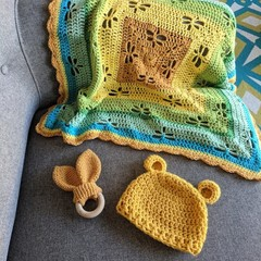 Crocheted Baby Blanket, Beanie & Teether - Baby Gift Set