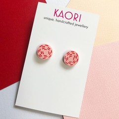 Polymer clay earrings, studs In pink and red swirl