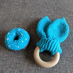 Handmade Crocheted Donut Rattle & Scrunchy Rabbit Ear Teether - Baby Gift Set