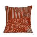 Orange Linen Pillow Cover. Abstract Flower.