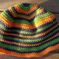 my stripey summer hat no.3 navy, orange and green child medium