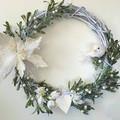 CHRISTMAS WREATH (48cms) White Poinsettia Christmas Wreath - Artificial Flowers