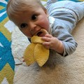 Crocheted Scrunchy Rabbit Ear Teether - Sensory Baby Gift