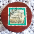 Brooch handcrafted from reclaimed hardwood and Australian stamp with bunyip