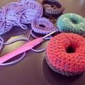 Crocheted Donut Rattle - Sensory Baby Gift
