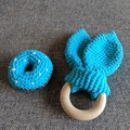 Crocheted Donut Rattle & Rabbit Ear Teether - Baby Gift Set
