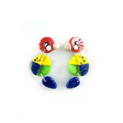 Australian Eastern Rosellas - Polymer Clay Statement Bird Earrings