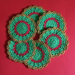 Six Green, Red and Gold Hand Crocheted Coasters