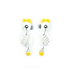 Australian Sulphur-Crested Cockatoo Earrings - Polymer Clay Statement Earrings