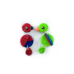 Eclectus Parrot Earrings - Polymer Clay Statement Earrings