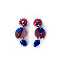 Australian Crimson Rosellas - Polymer Clay Statement Bird Earrings
