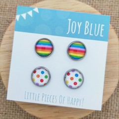Glass dome stud earrings 2 pack/ rainbow and dots