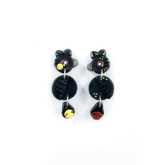 Australian Black Cockatoo Earrings - Polymer Clay Statement Earrings