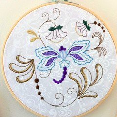 Embroidered whimsical butterfly, bamboo hoop art, wall hanging, floral