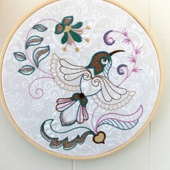 Embroidered whimsical bird in the hoop, wall hanging, bird hoop art, 6.5 inch
