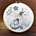 Embroidered whimsical bird in the hoop art, wall hanging, home decor