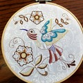 Embroidered whimsical bird, wall hanging, bamboo hoop art