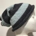 Knitted grey slouchy beanie, men's beanie, blue slouchy pom beanie