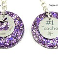Teacher Glitter keychain charms