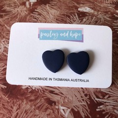 Navy heart statement stud - CLEARANCE 4 for $20