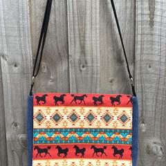 Upcycled Denim Satchel – Tribal Horse Print