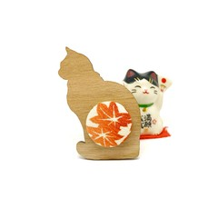 Kimono Cat Brooch -  Red Maple