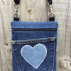 Upcycled Denim Cross Body Bag - Heart