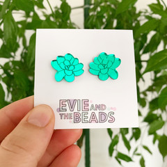 Green Mirror Succulent Statement Studs