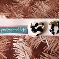 White, black & tan heart statement stud - CLEARANCE 4 for $20