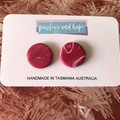 Maroon & White Swirl statement studs - CLEARANCE 4 for $20