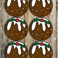 Christmas Puddings Neoprene Coasters - Set Of 6