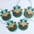 Christmas Reindeer Tag - 5 pieces.  Handmade xmas  gift wrapping - free post