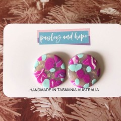 Pinky, minty sparkly swirl statement studs - CLEARANCE 4 for $20