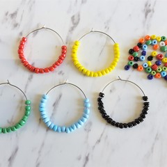 Colourful beaded hoop earrings , Big Statement hoops