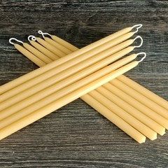 Handmade beeswax candles, 20cm tall by 1.2cm base artisan crafted candle