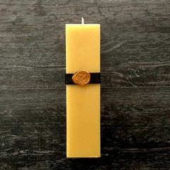Art deco/Art nouveau home decor square pillar beeswax candle. 1920S, 1930s style