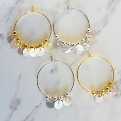 Small white shell circle fringe hoop earrings