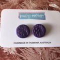 Purple printed statement studs - CLEARANCE 4 for $20