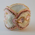 Bead Embroidered Bracelet Cuff in Pink, Gold & White