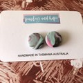 Pink, mint & black marble statement studs- CLEARANCE 4 for $20